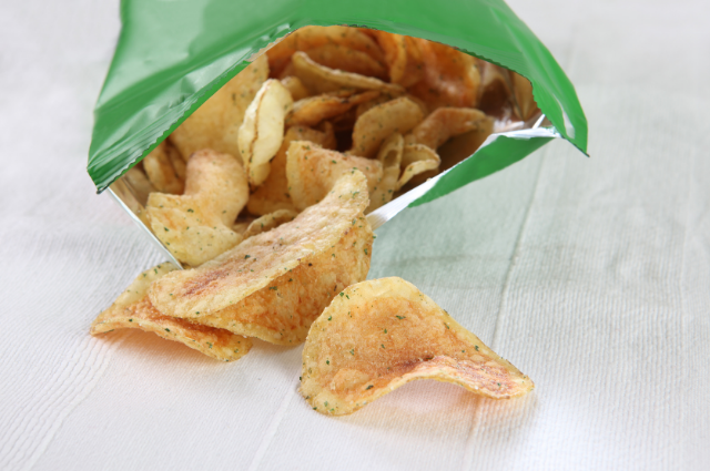 Potato chips in compostable packaging